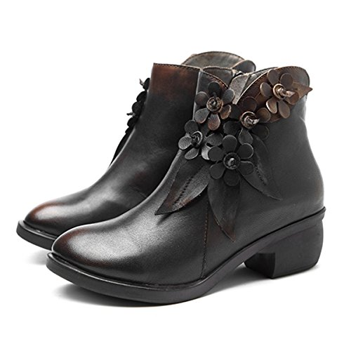 Oxford Women's Ankle Boot Rose Grey Handmade Dark Boots Leather Fashion Shoes Socofy Leather Vintage Bootie Floral xTw7taU