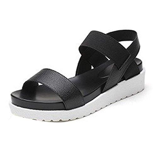 haoricu Women Shoes, Women's Summer PU Sandals Peep Toe Low Shoes Roman Sandals Ladies Flip Flops Platform Shoes (US:4.5, Black)