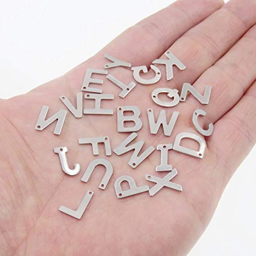 (Laliva Accessories - Small Charm, Silver Tone Stainless Steel 26 Letters Pendant DIY Jewelry Spacers Accessories Each Letter 1pcs Total 26pcs)
