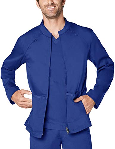 Adar Responsive Scrubs for Men - Zip Front Scrub Jacket - R6206 - Royal Blue - M ()