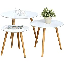 Nesting Tables Set of 3 Coffee Table Round End Side Table Night Stand Table Telephone Sofa Snack Table for Living Room Home and Office,White