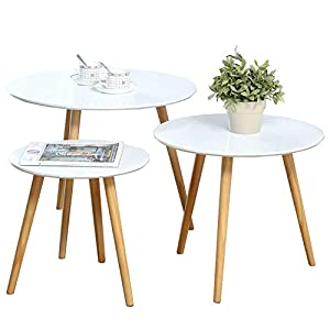 Homury Wood Nesting Coffee End Tables Set of 2 Modern Round Side Table Sofa Snack Table Nightstand for Living Room Home and Office,White (Round)