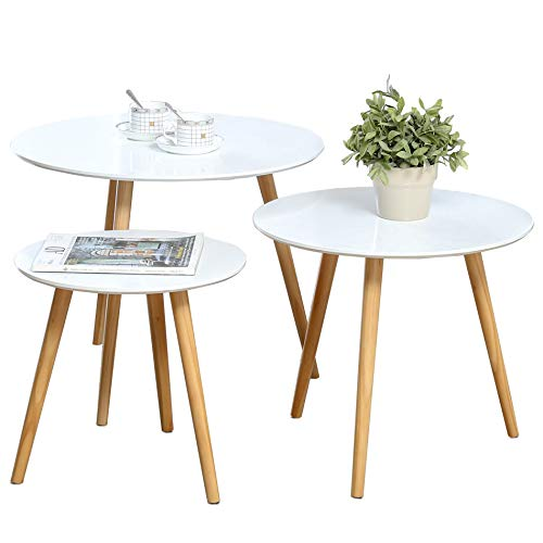 Cheap Nesting Tables Set of 3 Coffee Table Round End Side Table Night Stand Table Telephone Sofa Snack Table for Living Room Home and Office,White