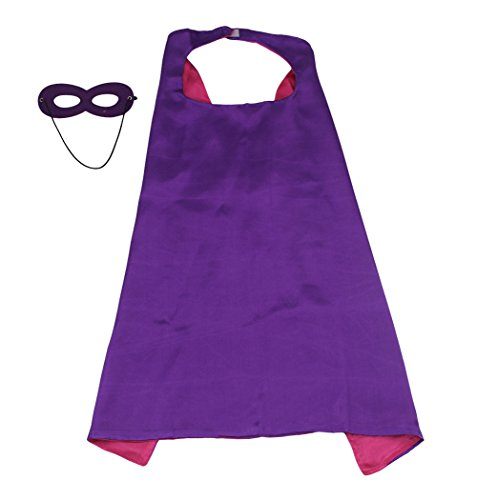 Costumes for Girls, DIY superhero capes for adults 1 Cape+1 Mask Double sided Purple+Fuscia Color 43.3