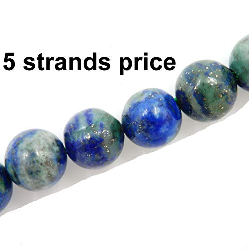 Malahill semiprecious Stone Beads for Jewelry Making, Sold per Bag 5 Strands Inside, Chrysocolla Treated 8mm