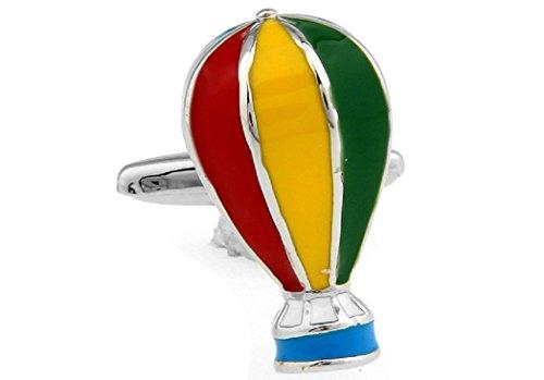 MRCUFF Hot Air Balloon Multi Colors Pair Cufflinks in a Presentation Gift Box & Polishing (Hot Air Balloon Cufflinks)