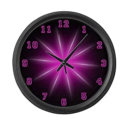 CafePress - Large Pink Neon Star Wall Clock - Large 17 Round Wall Clock, Unique Decorative Clock