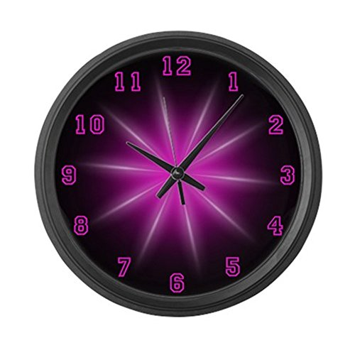 CafePress - Large Pink Neon Star Wall Clock