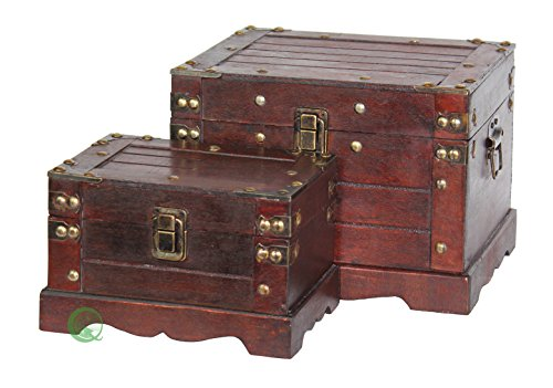 Vintiquewise(TM) Old Style Wooden Chest, Small, Set of 2 by Vintiquewise