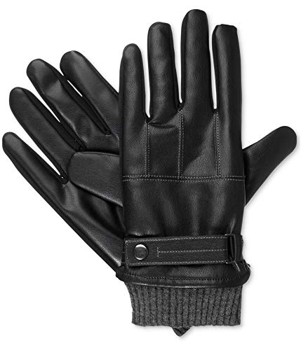 - Isotoner Mens Faux Nappa Gloves (Black, Medium)
