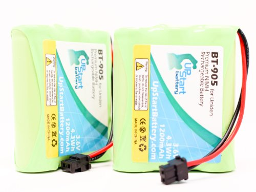 2x Pack - Uniden BT-905 Battery Replacement for Uniden Cordless Phone Battery (1200mAh, 3.6V, NI-MH) - Compatible with Uniden EZI996, CXAi5198, DXAI5588-2, CEZAI998, BT-800, EXI8560, EXAI5580, BT905, EXI7926, CXAi5698 ()