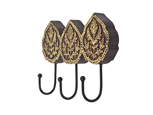 Store Indya Wall Hooks Key Holders Coat Hangers Handmade Wooden Vintage Inspired (Gray  Gold)