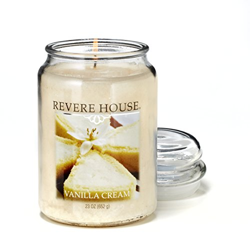 CANDLE-LITE Revere House Vanilla Cream Single-Wick Large Glass Jar Scented Candle, 23 oz,