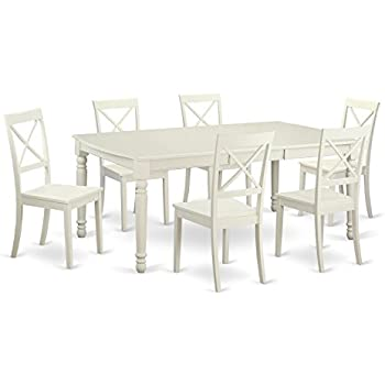 East West Furniture DOBO7 LWH W 7 Piece Dinette Table And 6 Dining Room