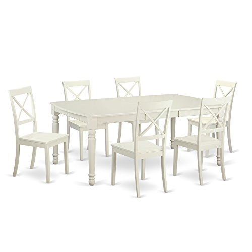 East West Furniture DOBO7-LWH-W 7 Piece Dinette Table and 6 Dining Room Chairs ()