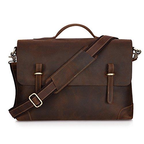 Kattee Genuine Leather Messenger Bag Tote, Leisure 15 Inch Laptop Briefcase Dark (Bag Dark Coffee)