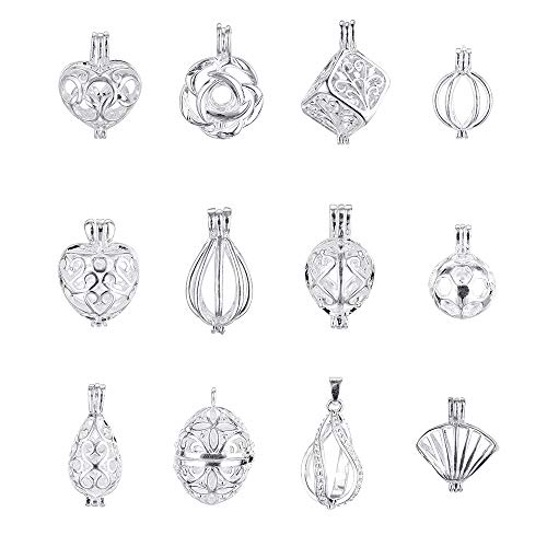 12pcs Silver Plated Pearl Bead Cage Locket Pendants Essential Oil Diffuser Necklace Bracelet with Lava Stone DIY Charms Jewelry - Oil Silver Charms