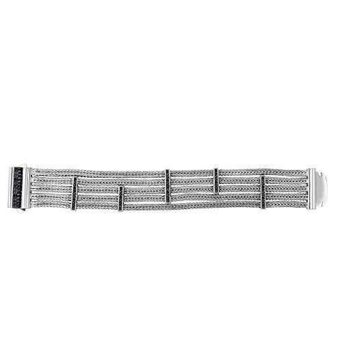 Silver 7.5 Inch Rhodium Finish 25mm 5-strand Weave Bracelet 5 Elements Of Black Sapphire Box Clasp by JewelryWeb