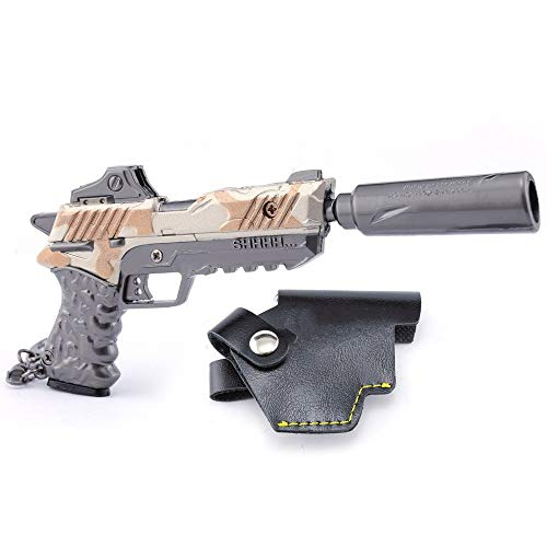 Longhe Games Metal Silencer Suppressed Pistol Gun Model Action Figure Arts Toys Collection Keychain Gift ()
