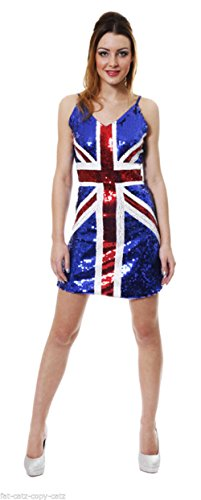 Rule Britannia Sexy Sequinned Blue Thin Strapped Union Jack ...