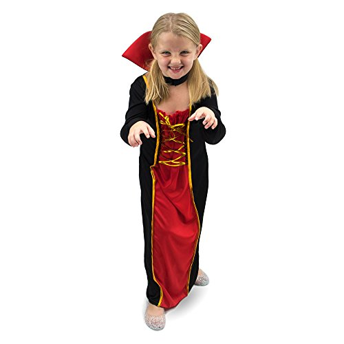Vexing Vampire Children's Girl Halloween Dress Up Theme Party Roleplay & Cosplay Costume, Girls, (S, M, L, XL) (Youth Medium (Vampire Bride Costumes)