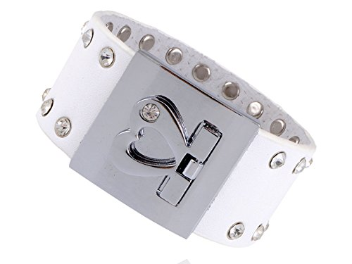 (Alilang Heart Buckle Crystal Rhinestone Stud Rockstar Leather Wrist Cuff Band Bracelet)