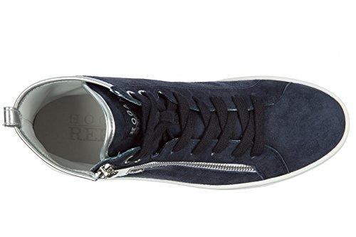 Scarpe Da Donna Hogan Rebel Scarpe Da Ginnastica Alte In Pelle Scamosciata R182 Blu