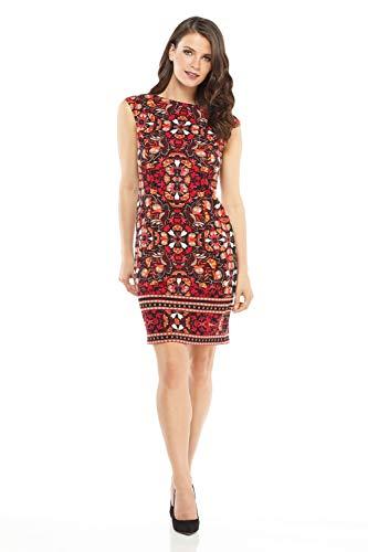 London Times Women's Petite Cap Sleeve Boat Neck Scuba Crepe Sheath Dress, Black Crimson, 10P