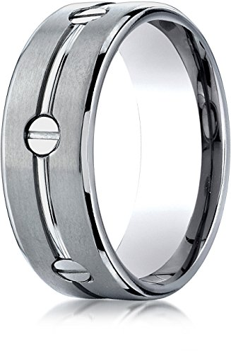 Benchmark Titanium 8 mm Comfort-Fit Satin-Finished Screw-Design Wedding Band Ring, Size 14