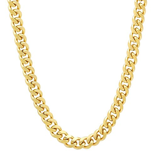 Hongwei Men's Real Gold Plated Cuban Necklace with ''24k'' Stamp High Quality Women 24k Yellow Gold Link Chain Jewelry 6mm Wide (20'' 22'' 24'' 26'' 28'' 30'' 36'') (24 (20' Jewelry Stamp)
