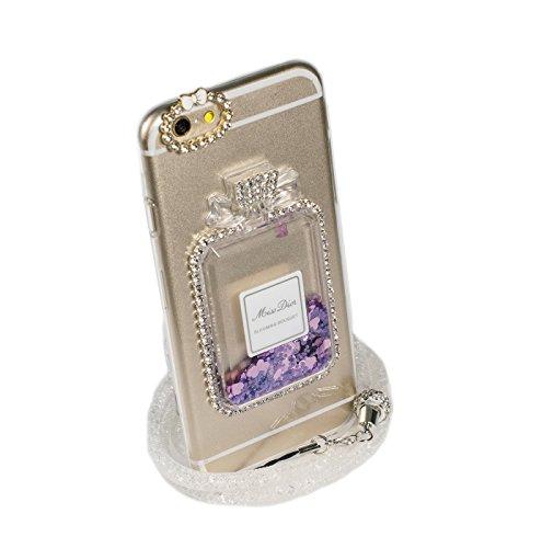 ビクター排出多くの危険がある状況【goodtaste】 iPhone6/6s ケース 香水瓶 iPhone ケース ストラップ付 流れるラメがキラキラ (iphone6/6s パープル)