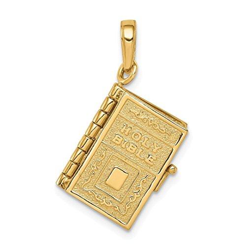 14k Yellow Gold Lords Prayer Bible Pendant Charm