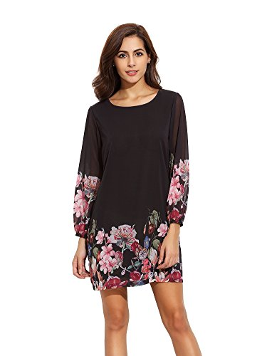 Floerns Women's Chiffon Floral Long Sleeve Shift Dress Black XL