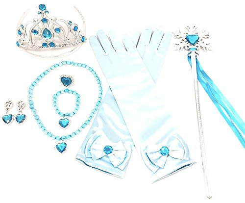 Princess Dress up Party Accessories - 3 Piece Gift Set: Gloves, Tiara and Wand (Snowflake L.Blue)