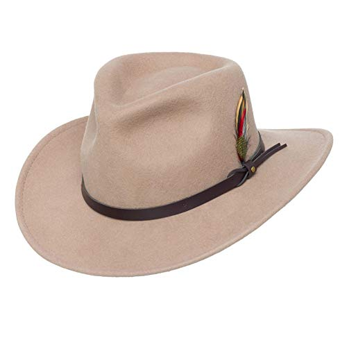 Men's Outback Wool Cowboy Hat |Montana Putty Crushable Western Felt by Silver Canyon ()
