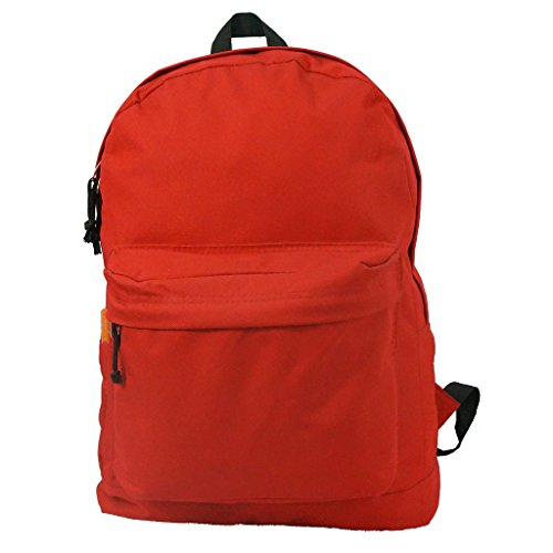 18in Classic Basic Backpack Simple School Book Bag w/Padded Back Side Pocket Red (Red Book Bag)
