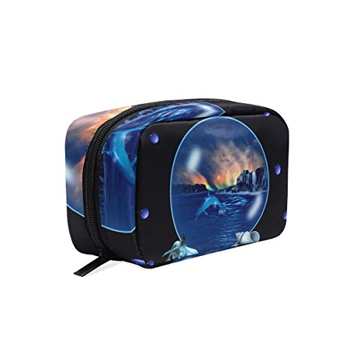 Cosmetic Bag Ocean Scene Bubble Dolphins Girls Makeup Organizer Box Lazy Toiletry Case