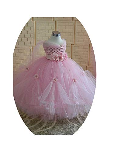Princess Tutu Dress Baby Kids Christmas Halloween Costumes Beauty Beast Cosplay Dress,Pink,2T]()
