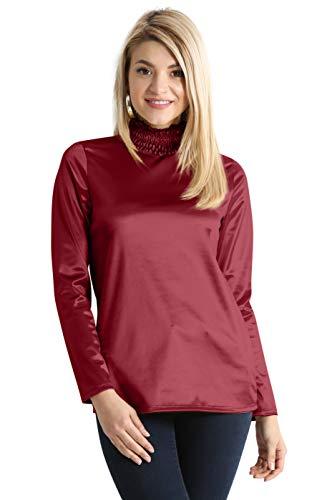 Red Silk Long Sleeve Tops for Women Burgundy Wine Metallic Shiny Turtleneck Blouse (Size X-Small US 0-2, - Satin Turtleneck