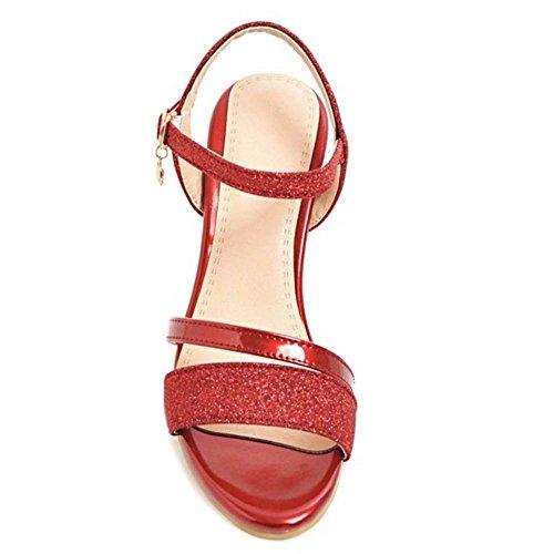 Mujer Tacon Fiesta Sandalias Red Ancho JOJONUNU qadOa