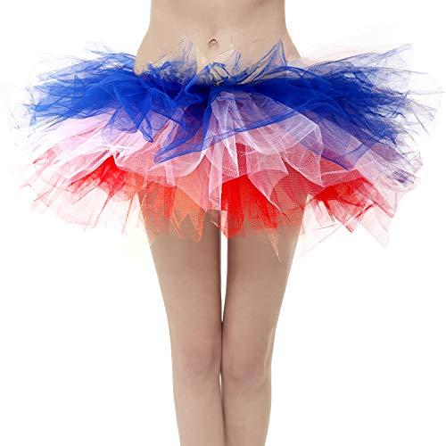 Dresstore Women's Vintage 5 Layered Tulle Tutu Puffy Ballet Bubble Skirt Z-Flag Plus Size ()