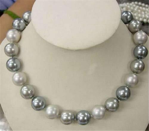 FidgetKute LMZB51 18inch 10-16mm White Silver Gray South Sea Shell Pearls Necklace 12mm