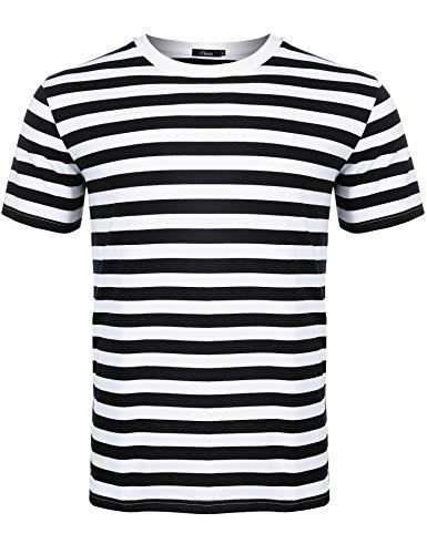 iClosam Men's Crew Neck Basic Striped T-Shirt Short Sleeve Cotton Shirt (Black &White Short2, X-Large) ()