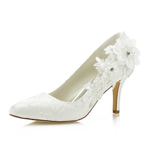 (Mrs Right 1622 Women's Bridal Shoes Closed Toe Stiletto Heel Lace Satin Pumps Satin Flower Imitation Pearl Wedding Shoes Colour Ivory,Size 9 B(M) US/40 EU)