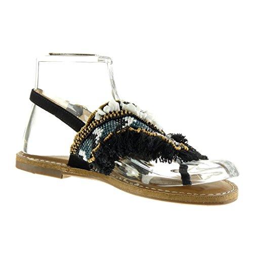 Angkorly - Scarpe da Moda sandali donna perla gioielli fantasia Tacco a blocco 1 CM - Nero