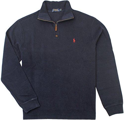 Polo Ralph Lauren Men's French-Rib Half-Zip Pullover, Hunter Navy, Medium