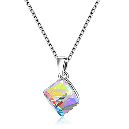 Crystal Cube Swarovski Austrian (Uloveido Graceful 925 Sterling Silver Box Chain Necklace Austrian Crystal CZ Cube Shape Pendant for Women Girlfriend (Box Packing) Y418-N)