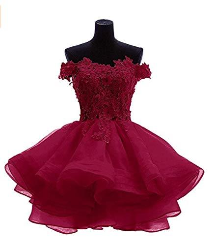 ANGELA Women#039s Off The Shoulder Organza Short Prom Homecoming Dresses Burgundy 6