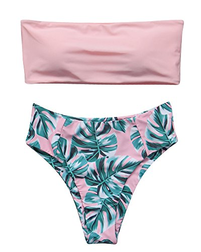 (RUUHEE Women High Cut Bandeau Tropical Leaf Printed Strapless Swimsuits Bikini Set (XL(US Size 10-12),Pink-1))
