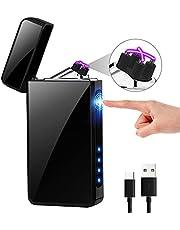 KIMILAR elektrische aansteker met usb aansluiting, oplaadbaar via aanrakingssensor, winddicht, vlamloze elektronische aansteker compatibel met kaarsen, sigaretten, keuken, barbecue